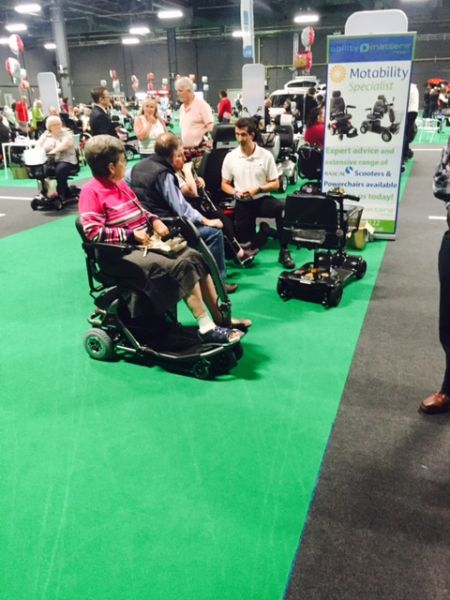 Motability customers on Rascal Scooters at The Big Event in Manchester